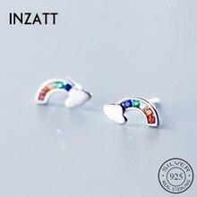 INZATT Real 925 Sterling Silver Cloud Zircon Rainbow Stud Earrings For Elegant Women Party Cute Fine Jewelry Accessories