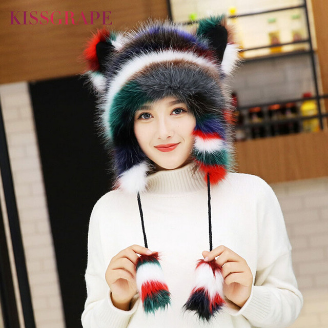 f224a22a44a Winter Faux Fox Fur Caps for Women Warm Bomber Hats with Ears Girls Novelty  Cartoon Animals Party Caps Female Hats Gift