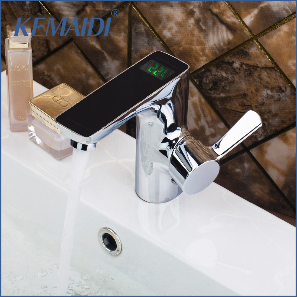 KEMAIDI Brass Chrome Polished Finish Digital Display Faucet Deck Mounted Mixer Sink Basin Water Tap Bathroom Faucet free shipping polished chrome finish new wall mounted waterfall bathroom bathtub handheld shower tap mixer faucet yt 5333