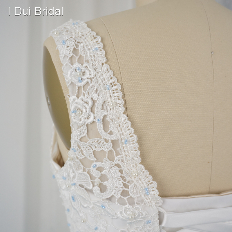 2208fb7a0 Short Front Long Back Pool Blue Wedding Dresses Lace Top Tulle Layer Jewel  Belt Bridal Gown Real Photo Custom Made-in Wedding Dresses from Weddings &  Events ...