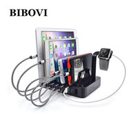 BIBOVI 6 Port USB Charger Desktop Multi Function 8 8A Charging Station Dock With Stand EU