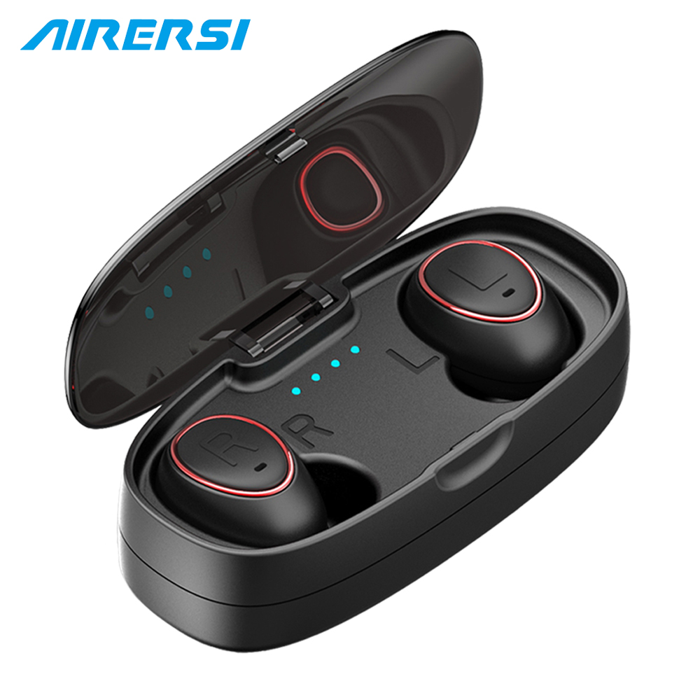 True mini bluetooth earphone 3D Stereo wireless headset in-ear earbuds sports headphones with Power Bank for iphone xiaomi phone smile at the foot of the ladder