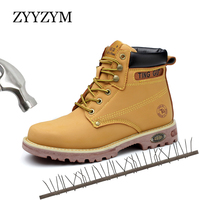 ZYYZYM Steel Toe Shoes Men Safety Work Boots Autumn Winter Outdoors Men Work Safety Shoes Anti piercing Protection Footwear