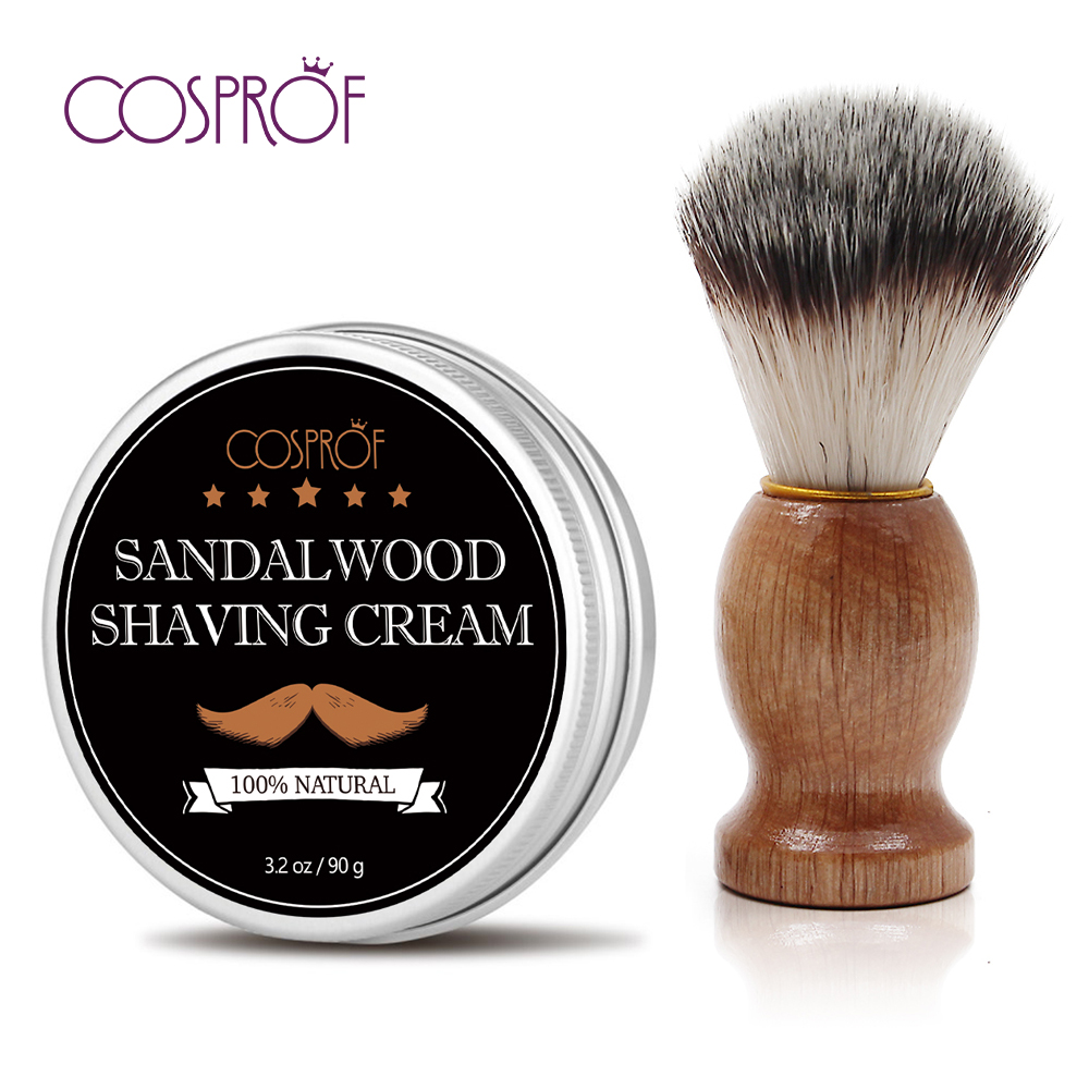 Cosprof Men's Shaving Soap & Brush Kit Wood Shaving Soap Shave Cream Foaming Lather Barber Personal Facial Care Tools