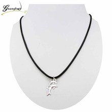 Trendy Dolphin Shape Pendant Necklace Imitation Leather Rope Chain Collares For Men Women Fashion Jewelry Bijoux Gift