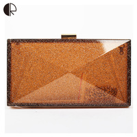 Hot Sale European Style Fashion Women Acrylic Handbags Ladies Wedding Party Day Clutch Hasp Candy Colored