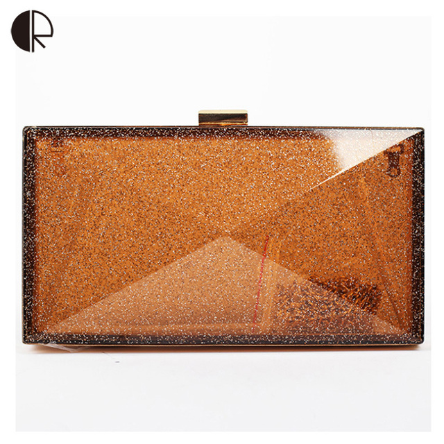 Hot Sale European Style Fashion Women Acrylic Handbags Ladies Wedding Party Day Clutch Hasp Candy-colored Evening Bags BH582