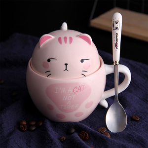 Image 5 - With Cover Cute Dog Cat Claw Coffee Tea Mug Cherry Double Layer Ceramic Juice Cup Transparent Pink Milk Mug Water Cup