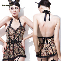 Free Seduction Leopard Pattern Porn Jumpsuit 2017 NEW Ladies Sexy Underwear Set Teddies Bodysuits Sex Products