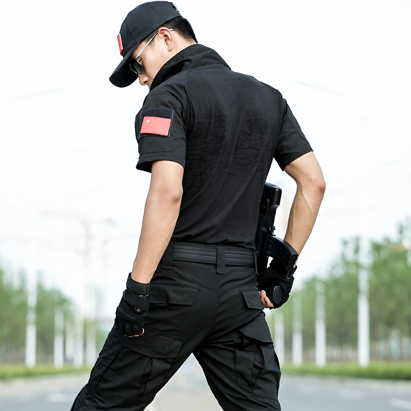 Noir à manches courtes chemise été respirant pantalon avec genouillères costume de chasse armée tactique formation costume militaire Combat uniforme - 4