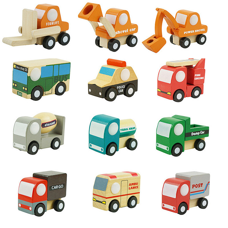 Mini Cartoon Wooden Model Car kids toys Inertia Car Toy For Children Baby Education Birthday Giftbnrw