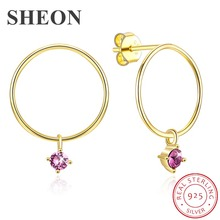 SHEON 925 Sterling Silver Gold Color Round Simple Light Luxury Stud Earrings for Women Authentic Jewelry Bijoux