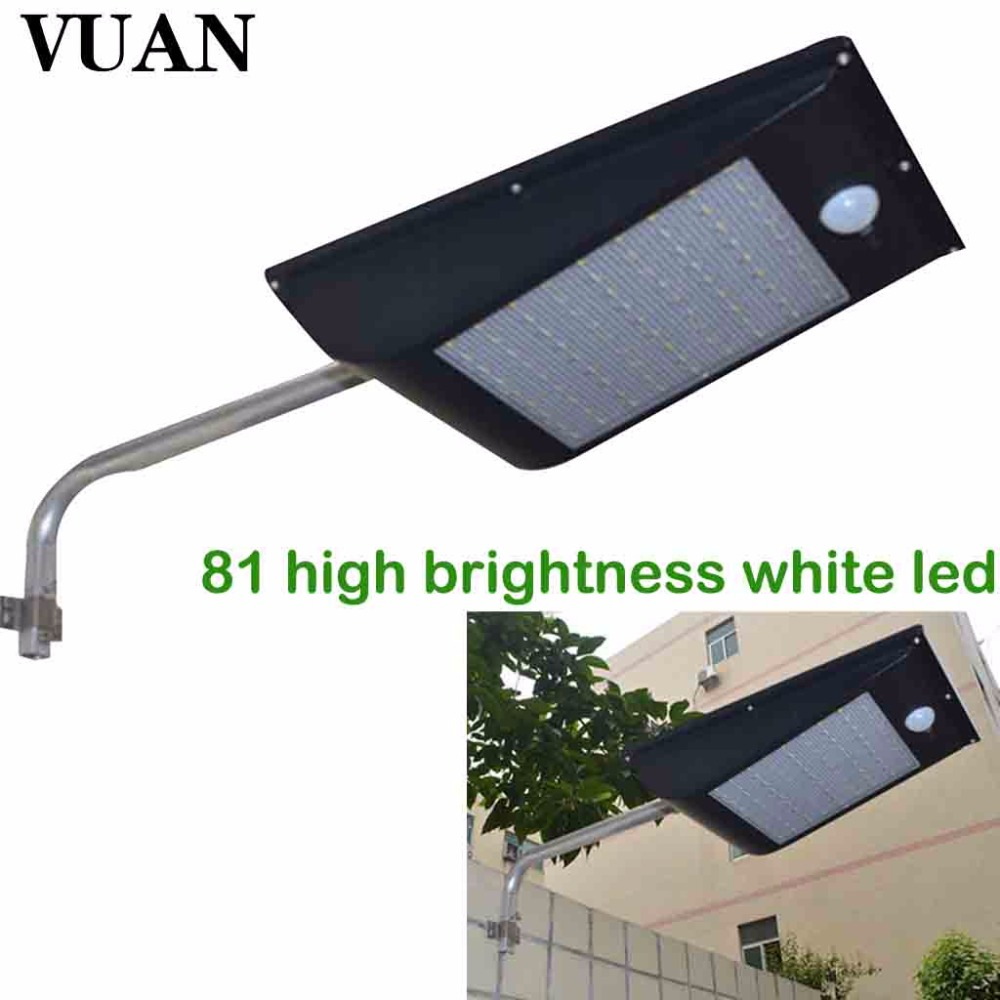 High Quality Power Outdoor IP65 1000 Lumen 81 LED Waterproof Solar Powered Security Light Solar Street Light for Garden, Fence youoklight 0 5w 3 led white light mini waterproof solar powered fence garden lamp black