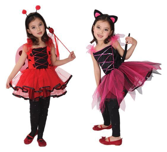 Children's Day Party Masquerade Girls Little Insects Pretty Little Ladybugs Little Black Cats Elf Cosplay Costumes Gothic Lolita