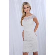 Short Sheath Wedding Dresses Cap Sleeve Sash Mini Lace Special Occasion Party Bridal Gowns Custom Made Sheer Appliques Scalloped