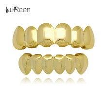 LuReen Hip Hop Gold Teeth Grills Top&Bottom Teeth Grills Dental Vampire Teeth Caps Mouth Halloween Party Body Jewelry LD0010