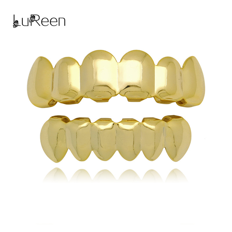 LuReen Hip Hop Gold Teeth Grillz Top&Bottom Teeth Grills Dental Vampire Teeth Caps Mouth Halloween Party Body Jewelry
