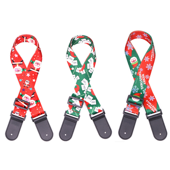 Lots of 12pcs Guitar Bass Strap Christmas Theme Picture Printed Polyester w/ Leather Head 5cm Wide 3 Colors