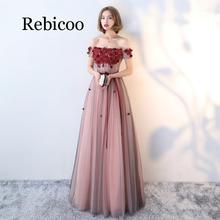 Rebicoo 2019 elegant wine red boat neck short sleeve tie back line A floor length tulle lace crystal party dress female long sec