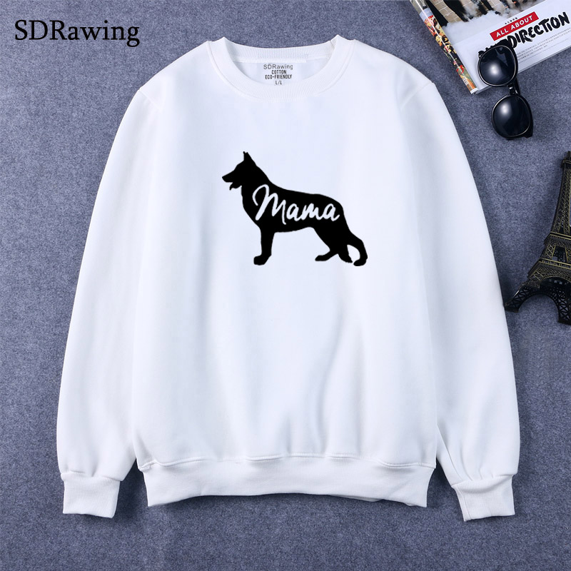 German Shepherd Dog Mom  Print Women Sweatshirts Casual Hoodies For Lady Girl Funny Hipster Jumper Drop Ship
