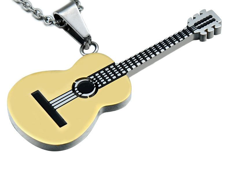 Stainless <font><b>Steel</b></font> <font><b>Guitar</b></font> Pendant Music <font><b>Necklace</b></font> Rock Hip Hop <font><b>Titanium</b></font> <font><b>Steel</b></font> <font><b>Necklace</b></font> image