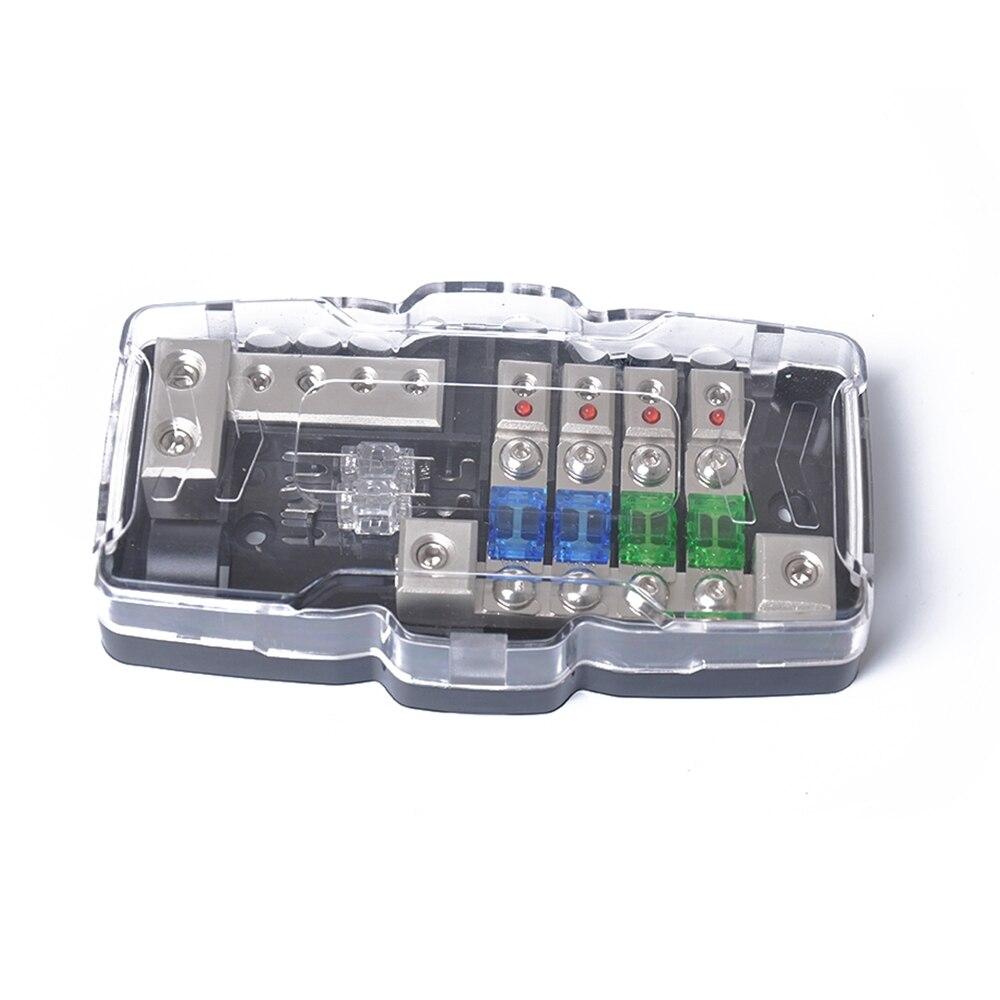 Led Car Audio Stereo Distribution Block Ground Mini Anl Fuse 4 In 220 Screw Box 1