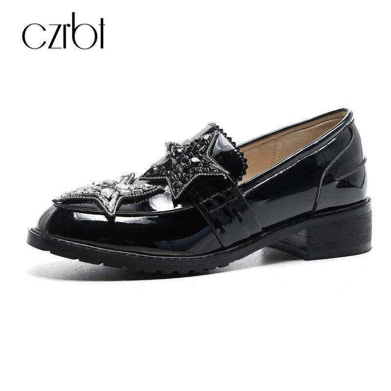 CZRBT новое Прибытие мода женщины обувь Натуральная кожа квартиры женщин высокое качество всегда на высоте Кристалл украсить туфли черные Оксфорды обувь
