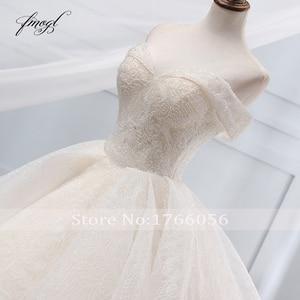Image 4 - Fmogl Vestido דה Noiva סירת צוואר כדור שמלת חתונת שמלות 2019 סקסי ללא משענת חרוזים קפלת רכבת תחרה בציר כלה שמלה