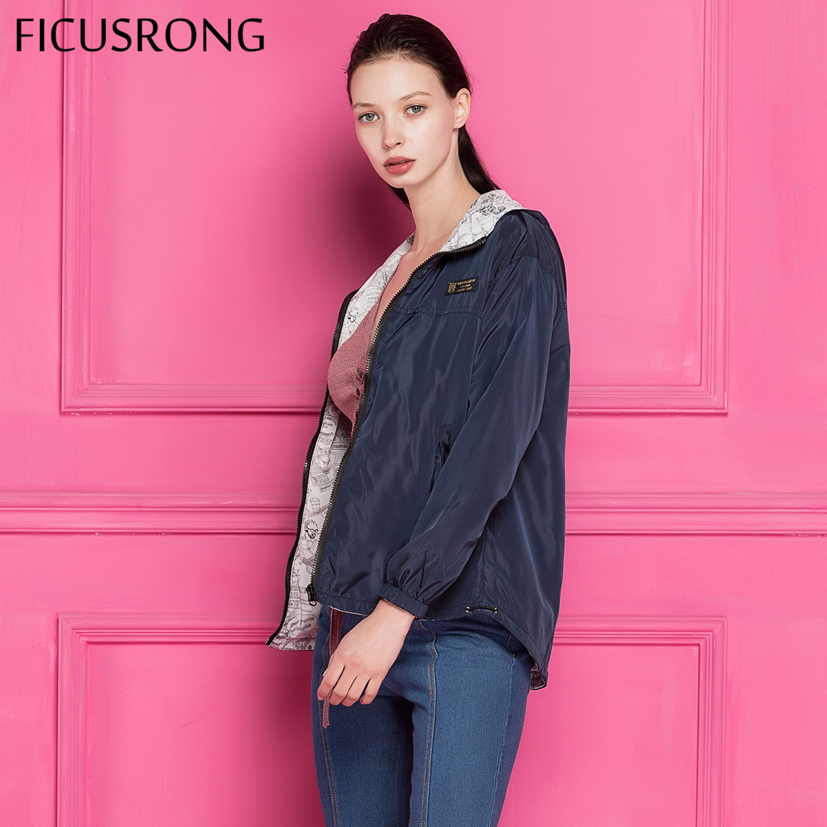 FICUSRONG 2018 New Autumn Women Bomber Basic Jacket Pocket Zipper Hooded Two Side Wear Cartoon Print Outwear Navy Loose Coat