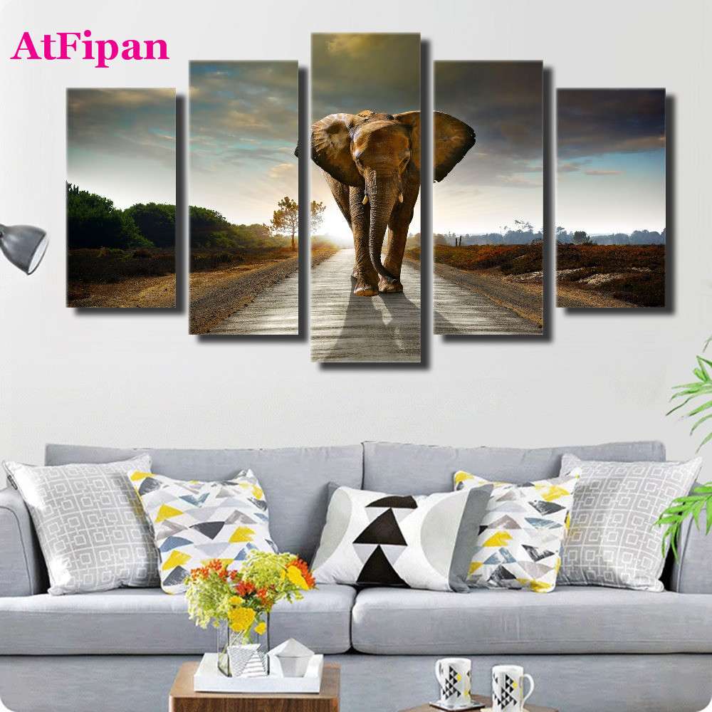 Atfipan modern elephant animal wall pictures for living room unframed painting on canvas hd wall art poster hot cuadros decor