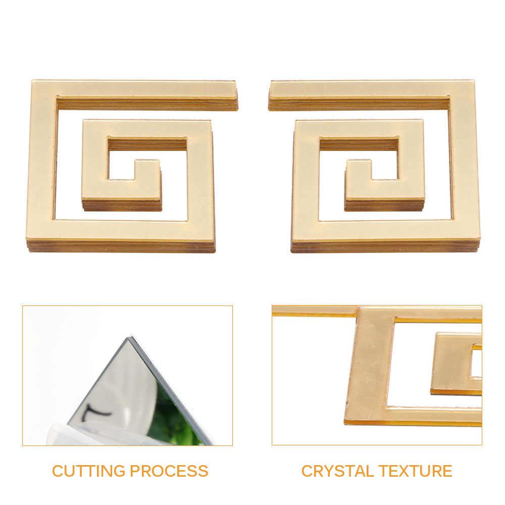 10 pçs/set Edifício Fronteira Espelho Acrílico Adesivo de Parede Arte DIY Casa Decoração Espelho Adesivos De Parede Decoração Casa 48*48mm