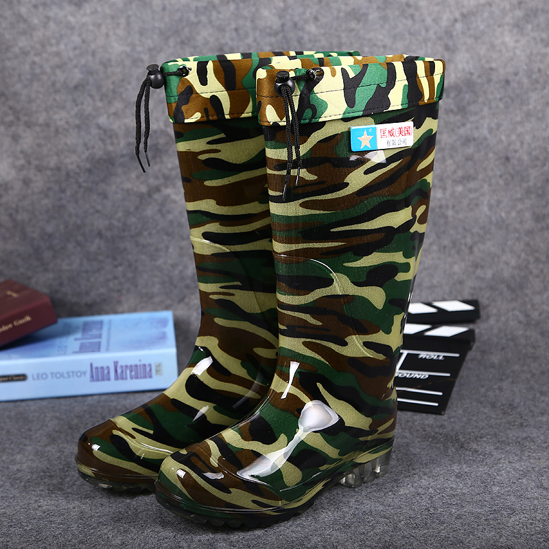 2016 highwinter fishing boots man PVC camouflage rain boots fashion fishing boots men s Washing shoes