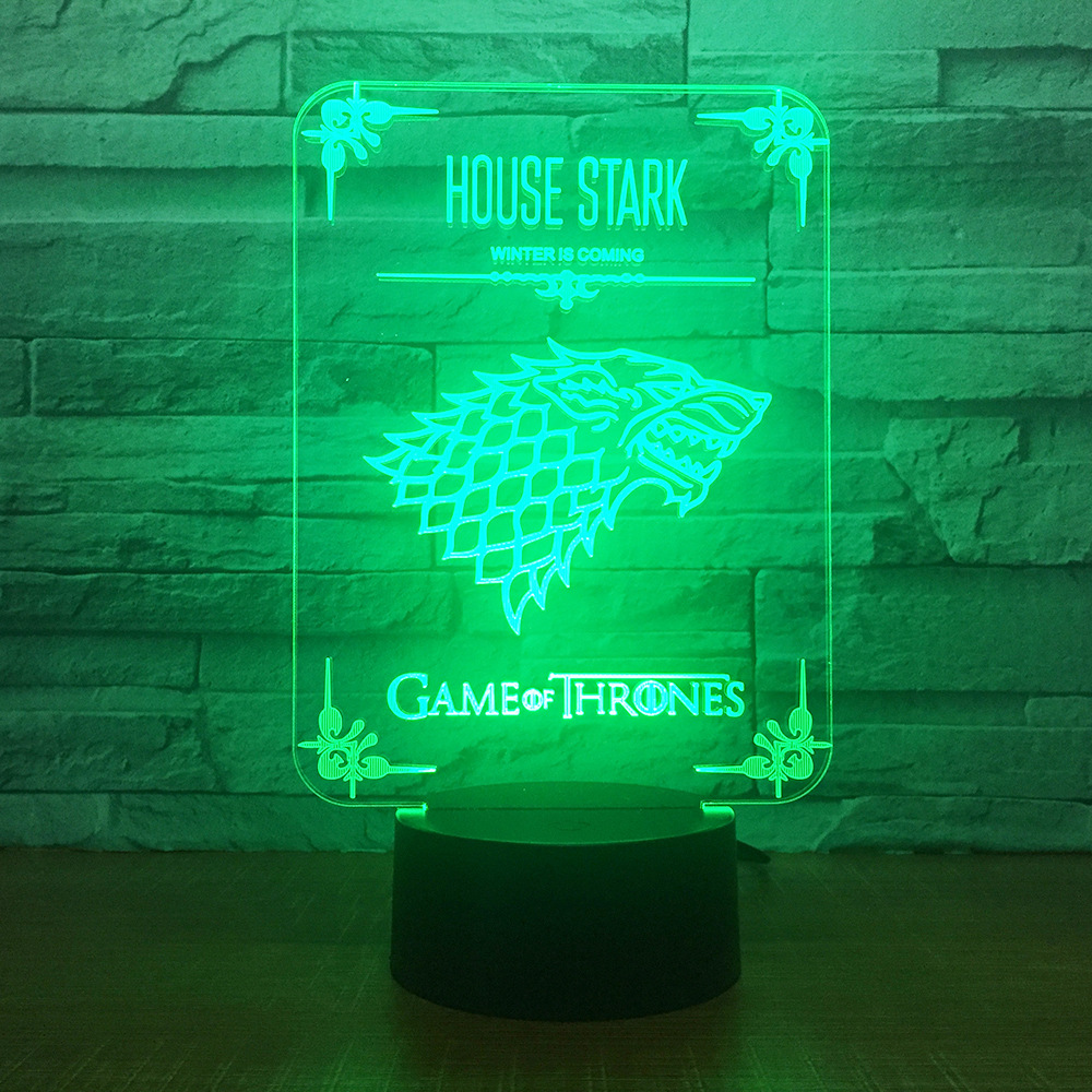 House Stark Game of Thrones Wolf Acrylic Illusion 3D LED Lamp 7 Colors Changing USB Touch Desk Lamp Kid's Birthday Gift Dropship