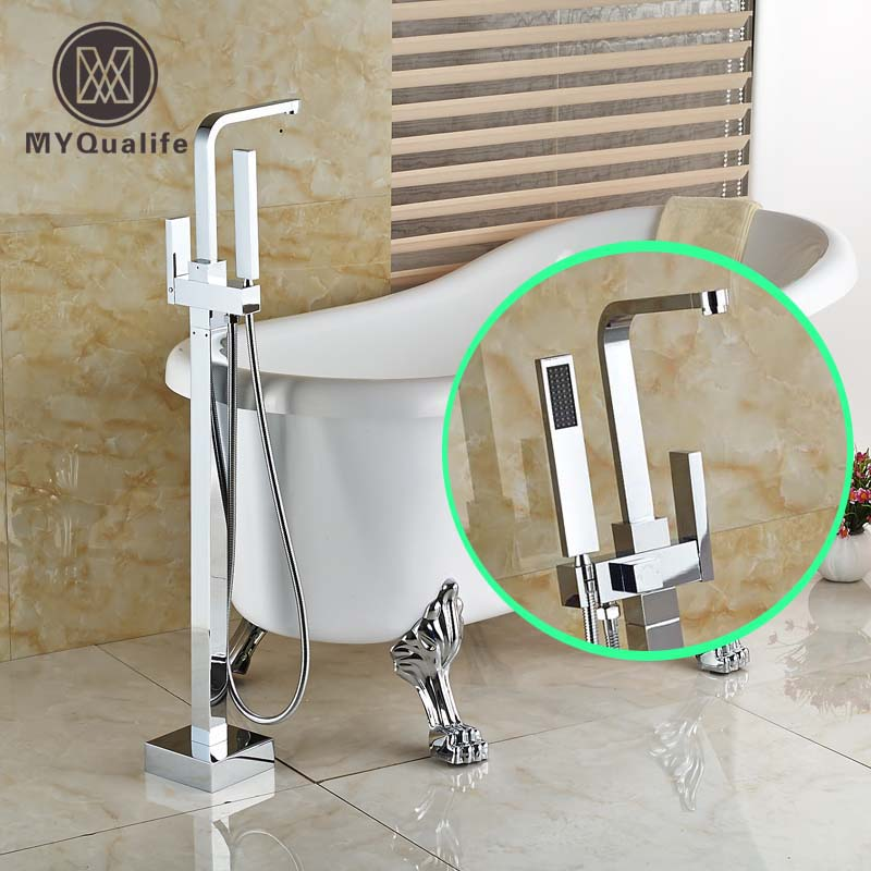 Bright Chrome Floor Mount Bathtub Shower Faucet Single Handle Freestanding Bathroom Tub Mixer Taps free shipping polished chrome finish new wall mounted waterfall bathroom bathtub handheld shower tap mixer faucet yt 5333