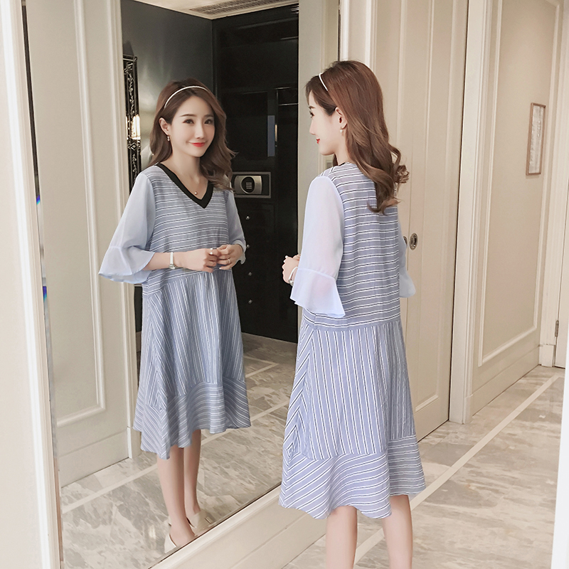 Brief Maternity Clothes Striped Summer Pregnancy Dress Patchwork Fashion Maternity Clothing Of Pregnant Women Chiffon Vestidos