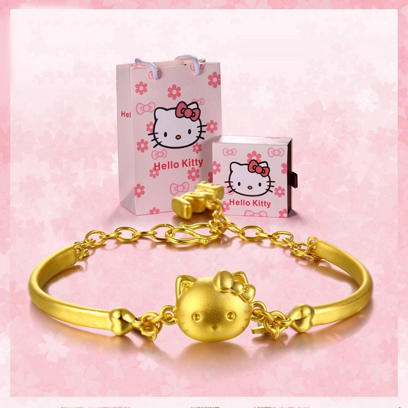 3D solid modeling Gold hoop Chain Bracelet For Women Hello Kitty ...