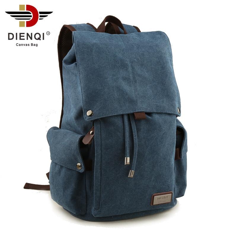 DIENQI Brand Man's Canvas Backpack Travel Schoolbag Male Backpack Large Capacity Rucksack Shoulder Vintage Bag Mochila Escolar