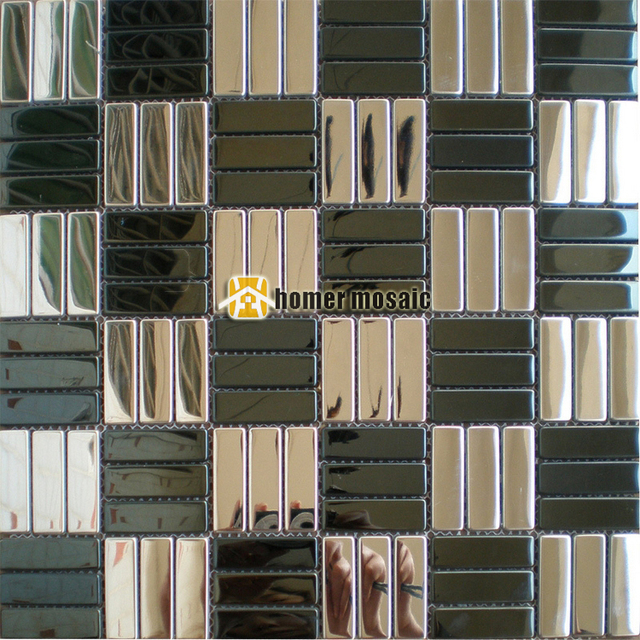 Black Mosaic Tiles Kitchen: Brick Pattern Black Mixed Silver Color Stainless Steel