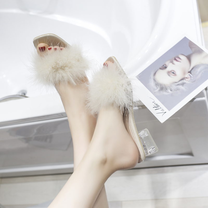 Summer Clear Ladies Slippers Transparent Mules Slides Slippers Women Shoes Metal Buckle Peep Toe Square High Heels Shoes Woman