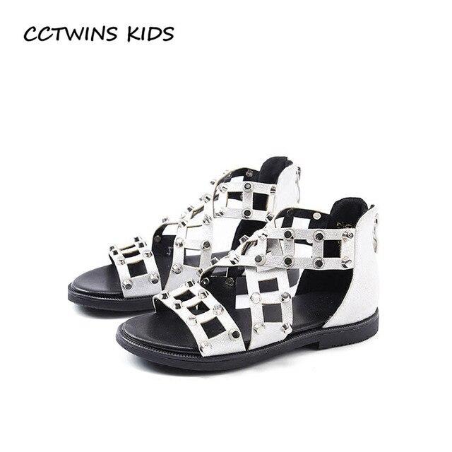 c5c9b8428541 CCTWINS KIDS 2018 Summer Baby Girl Fashion Gladiator Sandal Children Pu  Leather Stud Shoe Toddler Brand Barefoot Flat BG021