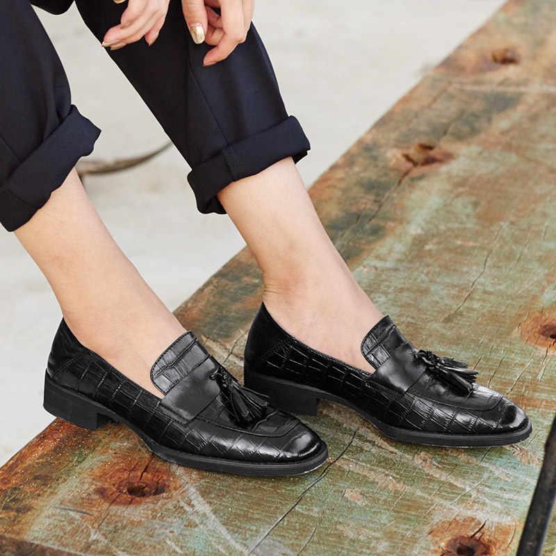 BeauToday mocasines para mujeres cocodrilo cuero genuino de vaca moda flecos Slip On zapatos vestido de punta cuadrada señoras pisos 27053