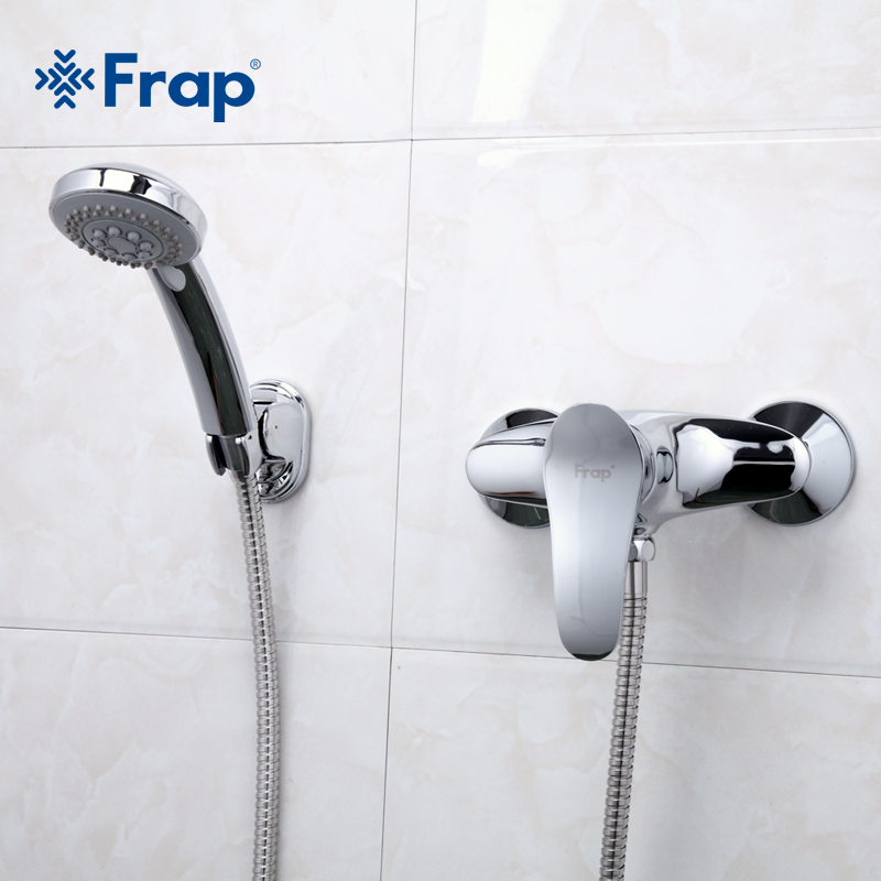 Frap 1 Set Simple Style Bath Shower Faucet Cold And Hot Water Mixer Tap With Hand Shower Single Handle F2001