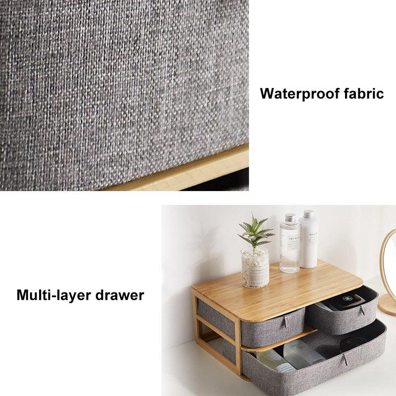 Boîte de rangement multi-couches en bois de bambou avec tiroirs en tissu Oxford pour bureau DC120 - 4