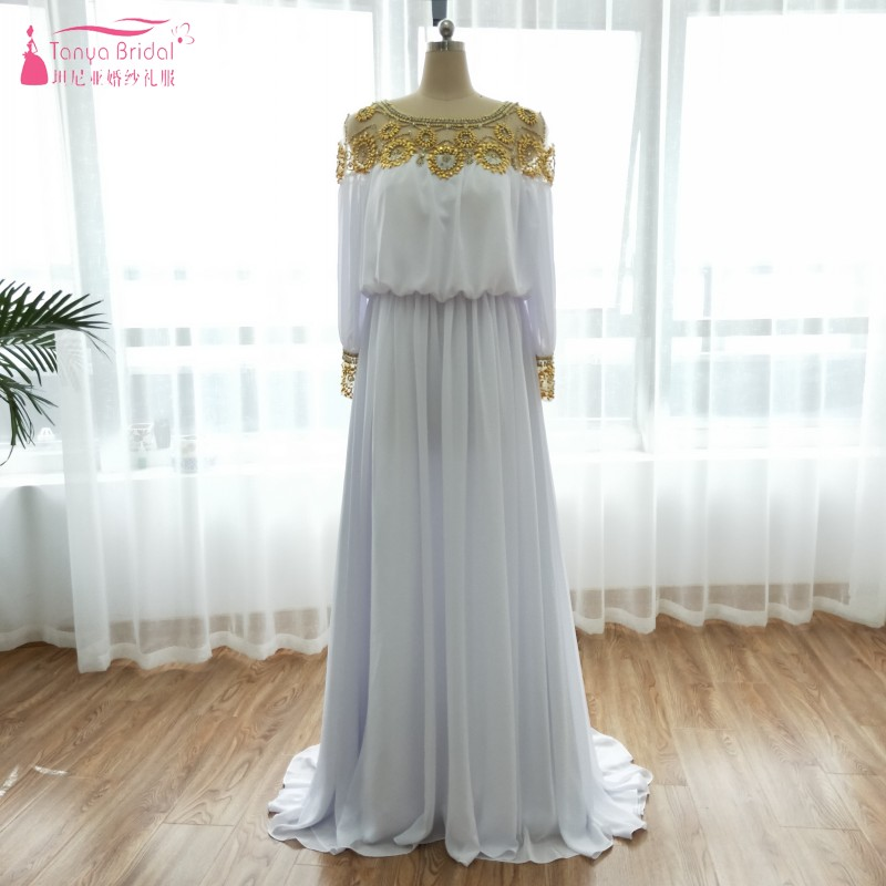 A Line Chiffon   Prom     Dresses   Aso Ebi Long Sleeve Golden Beaded African Fashion Evening   Dresses   Important Event Gowns ZP079