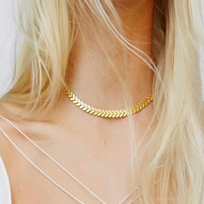 x220 Fashion Jewelry Arrow Wave Chain Link Necklace Choker Vintage Punk Gold Metal Necklace Chain Gift for Women Girl