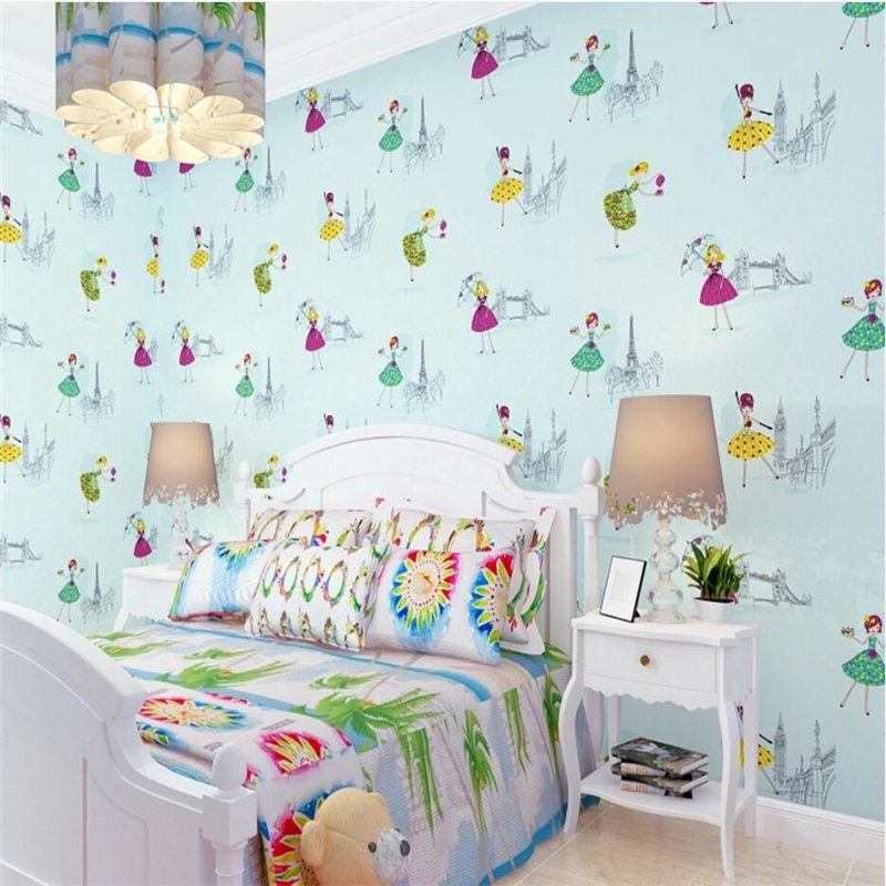 Beibehang Home decoration cartoon ballet pattern blue pink yellow purple wallpaper boy girl warm kids room 3d wallpaper roll beibehang environmental non woven boy girl warm cartoon children s room blue sky clouds balloon wallpaper