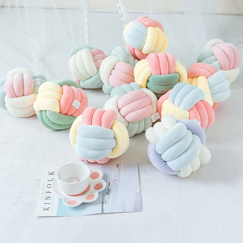 Wind Color Ball Knotted Body Pillow Knot Ball Pillow Creative Cushion Girl Heart Four Color Optional Support Wholesale