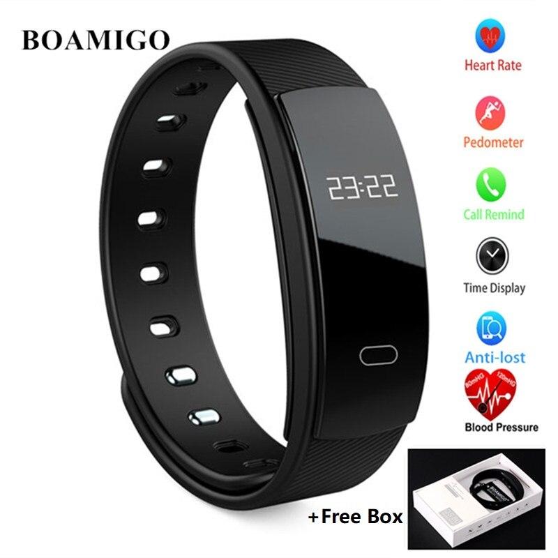 Neue BOAMIGO Bluetooth Smart Uhr Wasserdicht Herz Rate Armband Armband Nachricht Erinnerung LED Schlaf Überwachung für IOS Android