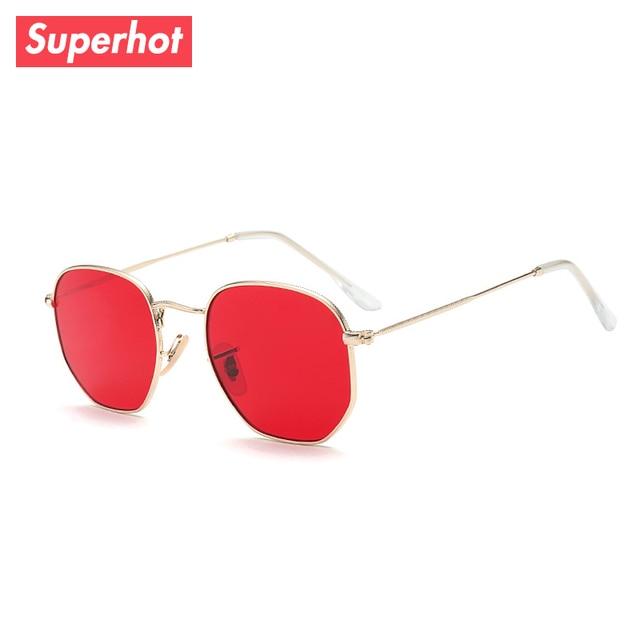 983bddcb26 Superhot Lunettes Tour Hexagonale Lunettes de Soleil En Métal Cadre lunettes  de Soleil Hommes Femmes Rouge