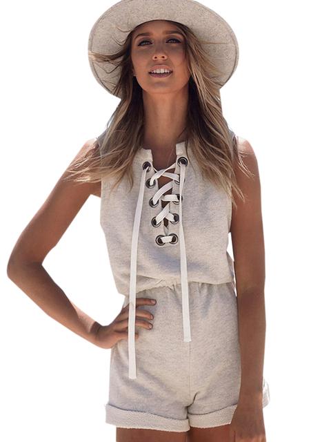 Frente laço cinza de algodão curto Romper Bodysuit de uma peça macacão verão Plus Size sem mangas senhora macacão Playsuit